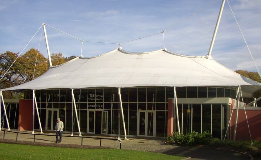 Tensile fabric roof canopy covering Orangery