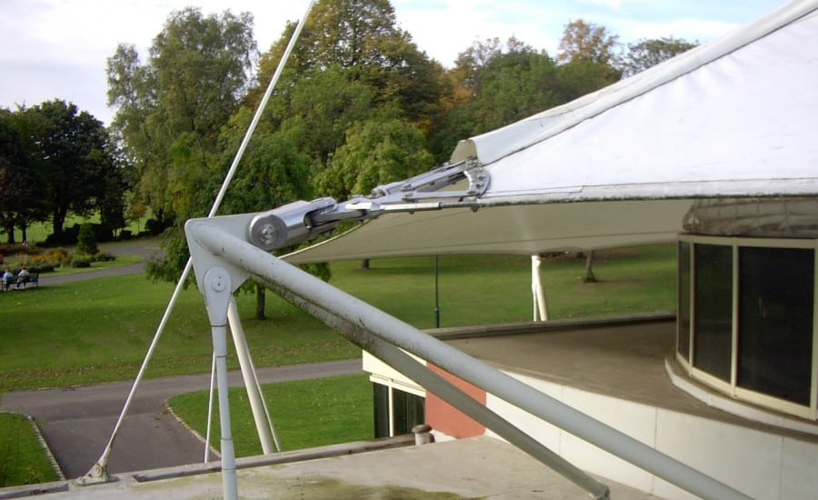 Tensile canopy roof incorporating natural light