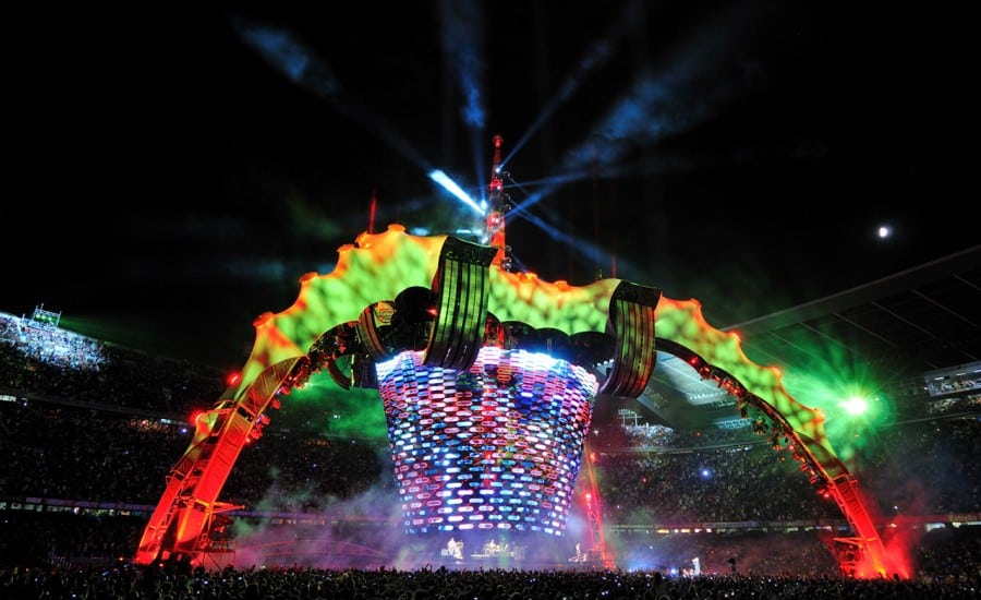 Fabric structure on stage at night