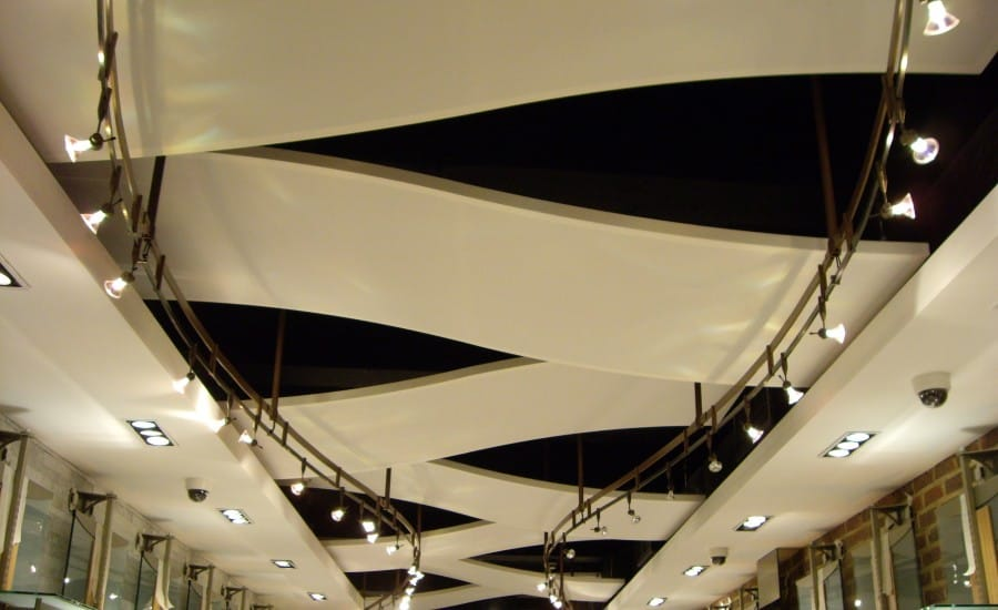 Acoustic fabric ceiling system in retail store