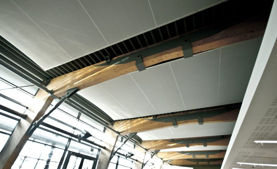 Interior fabric screens on ceiling