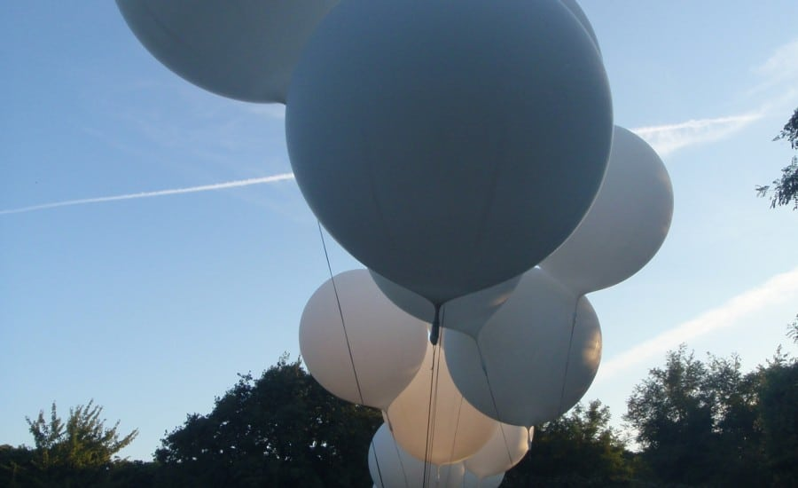 Weather ballons used for fabric sculpture
