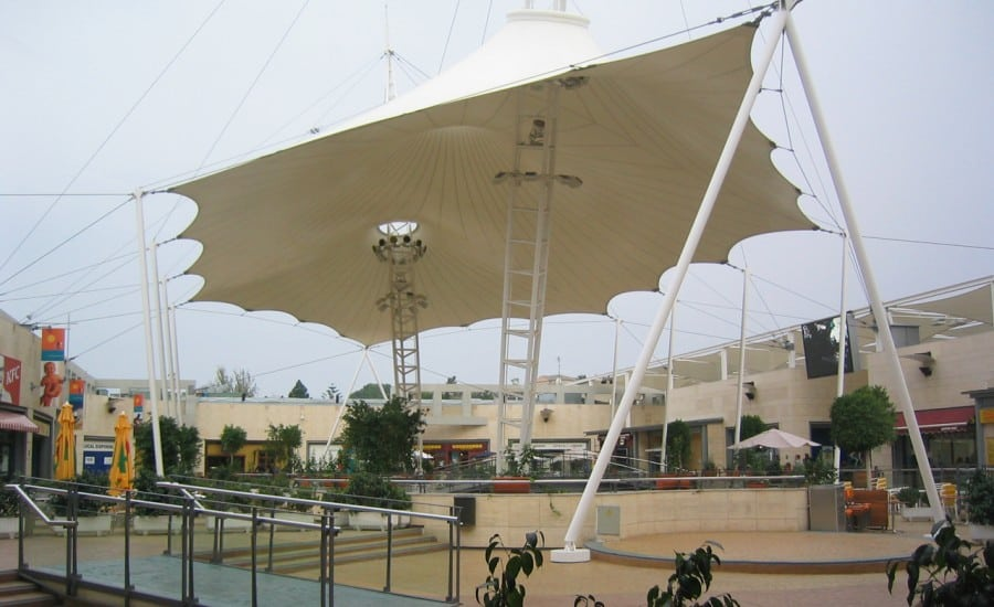 Fabric entrance canopy for shopping centre