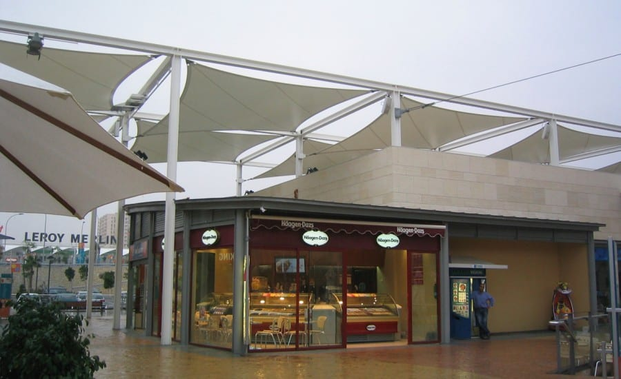 Outdoor fabric canopies for walkway