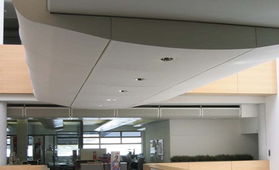 Fabric clad walkway in office building