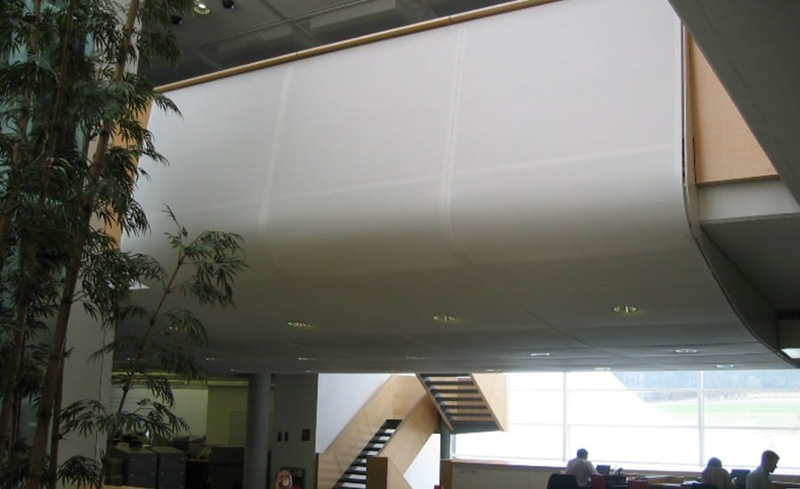 Fabric panel ceiling with lighting