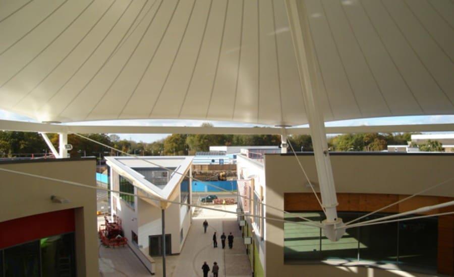 Large PVC canpopy covering retail centre
