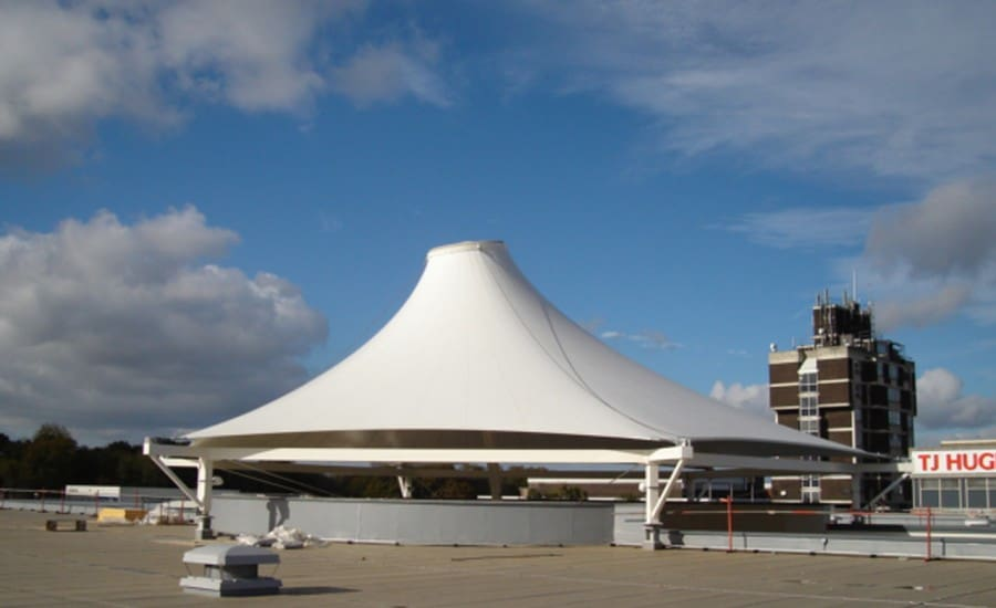 Conic tensile structure providing weather protection