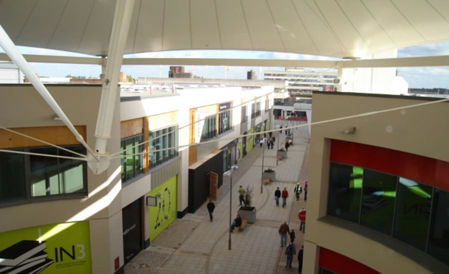 PVC strucutre sheltering walkway in shopping centre