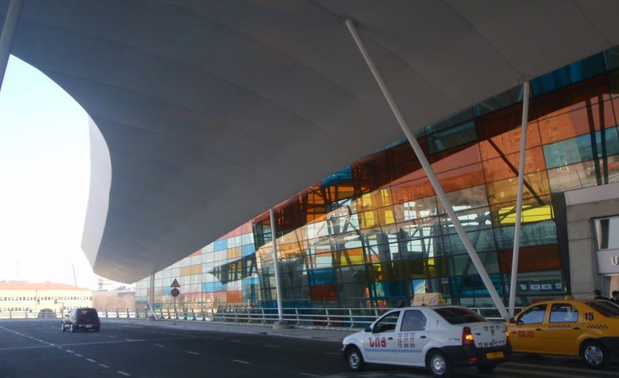 Fabric structure over airport entrance