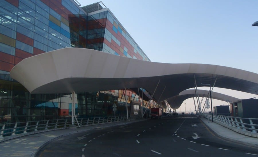 Tensile fabric entrance canopy at airport