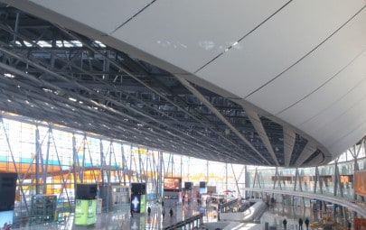 Acoustic fabric ceiling panels in airport