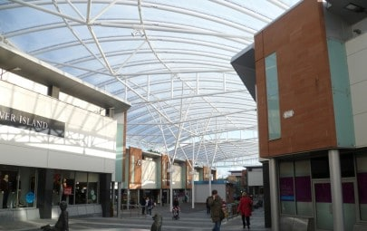 ETFE canopy over shops