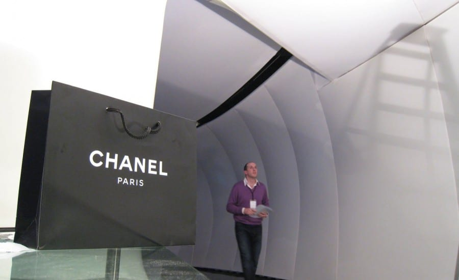 Fabric clad demountable structure for Chanel Paris