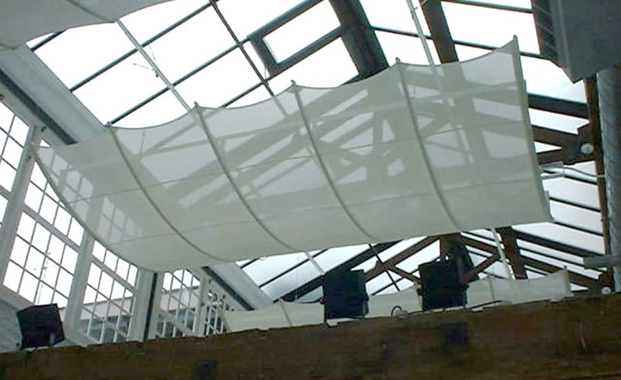 Curved interior fabric screen