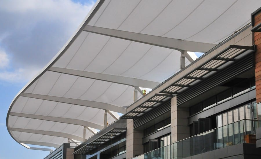 lightweight tenara fabric shopping centre canopy