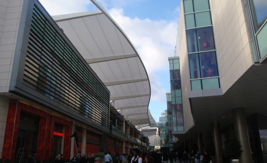 Tensile fabric architectural walkway canopy