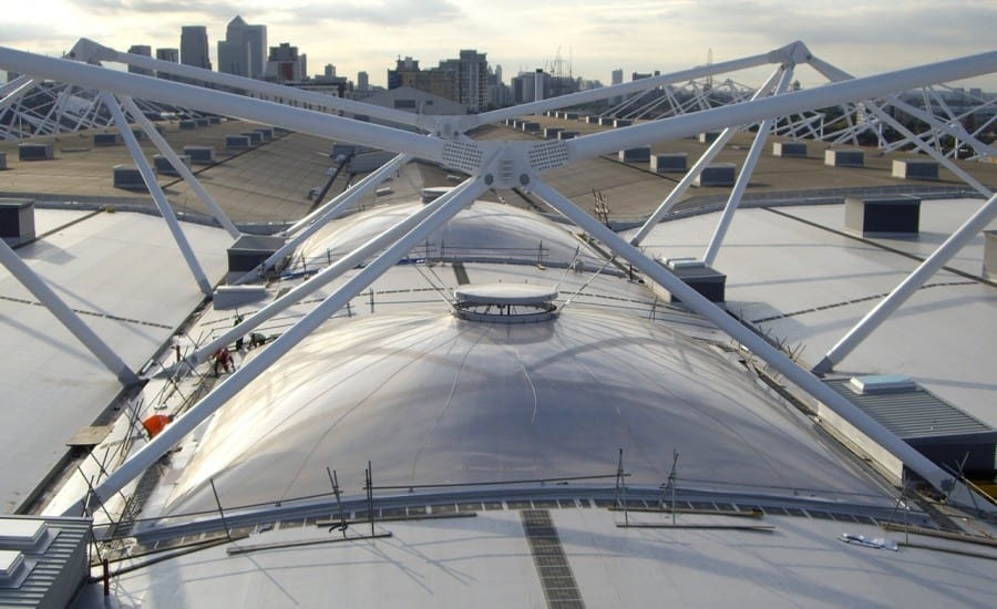 ETFE roof with ventilation actuator