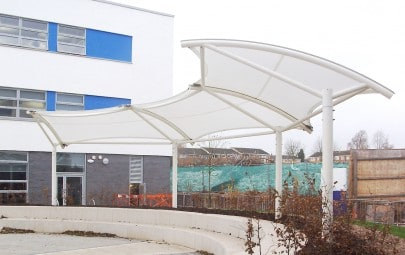 three bay tensile fabric structure