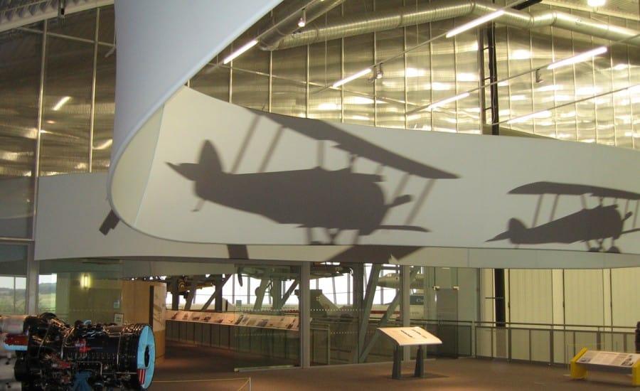 Sculptural fabric installation in museum