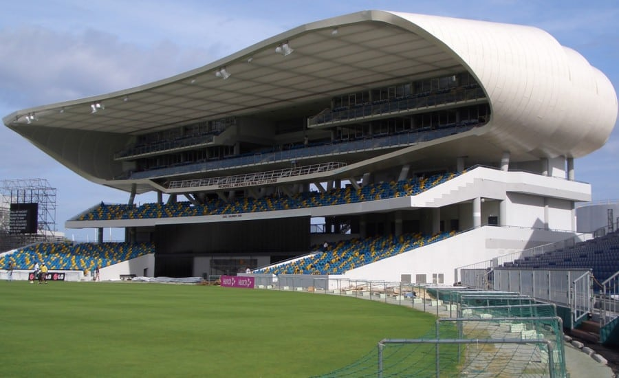 fabric ceiling panels covering spectators stand