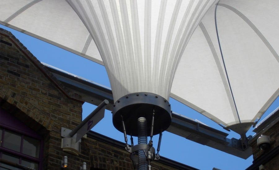 beautifully patterned fabric canopy