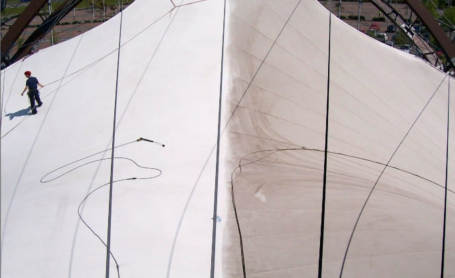 cleaning PVC fabric structure