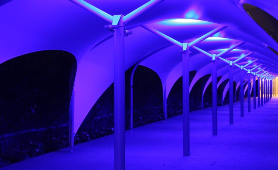Architecturally lit walkway canopy