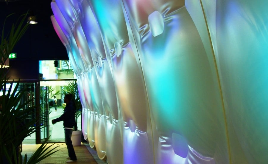 PVC fabric wall with interactive lighting