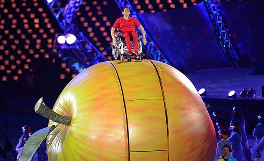 Fabric inflatable apple for Paralympic Games