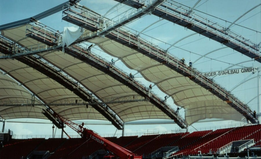 Fabric canopies over stadium seating