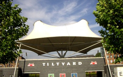 twin coned tensile PVC fabric entrance canopy