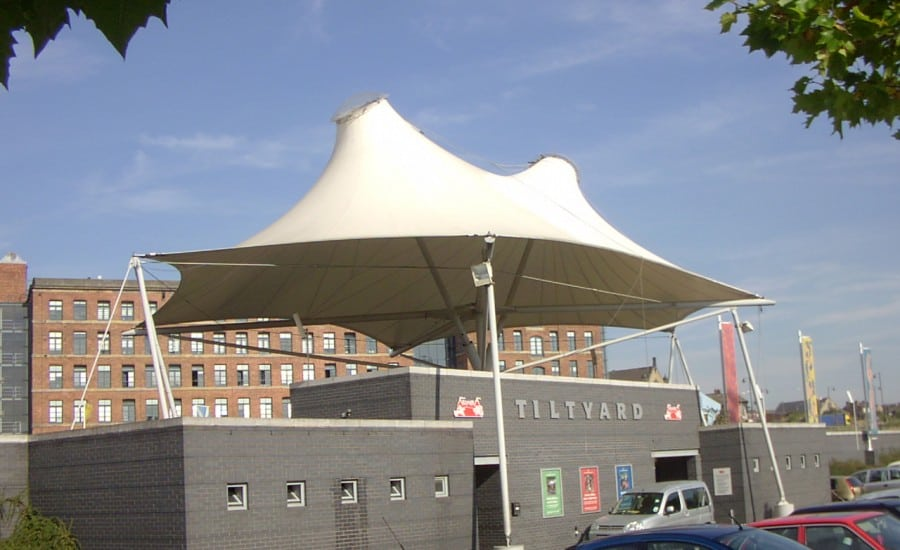 Coned tensile PVC fabric canopy