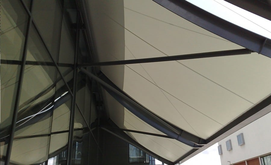Cantilevered PVC entrance canopy