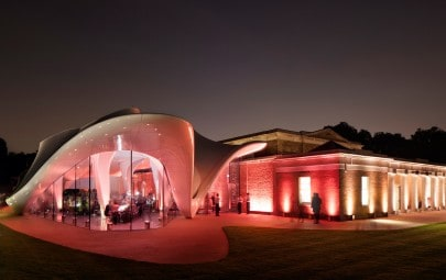 Fabric structure at night