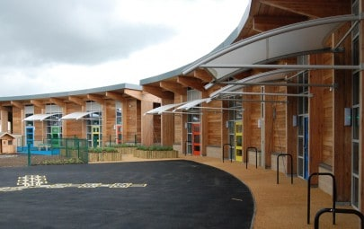 School courtyard exterior canopies