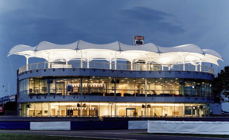 Canopy over roof terrace of BRDC