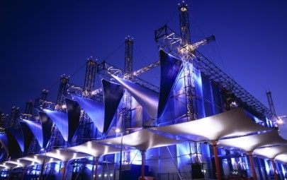 Fabric clad live entertainment venue