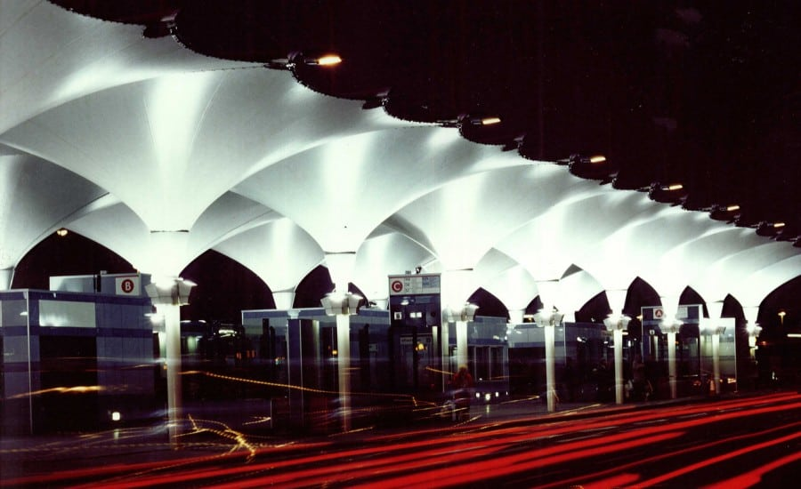 Inverted illuminated fabric canopies