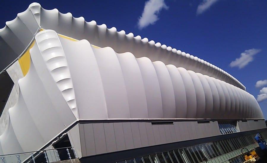 Engineered tensile fabric stadium structure