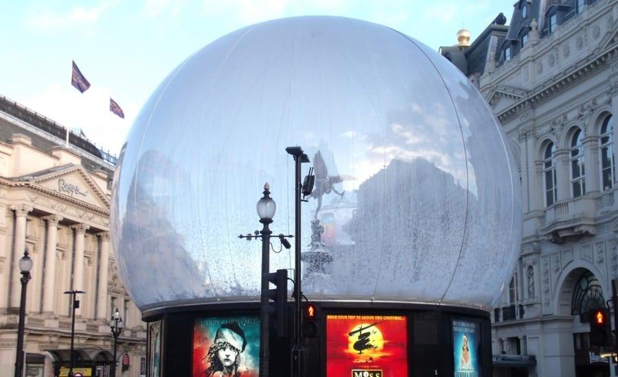 Large fabric snow globe