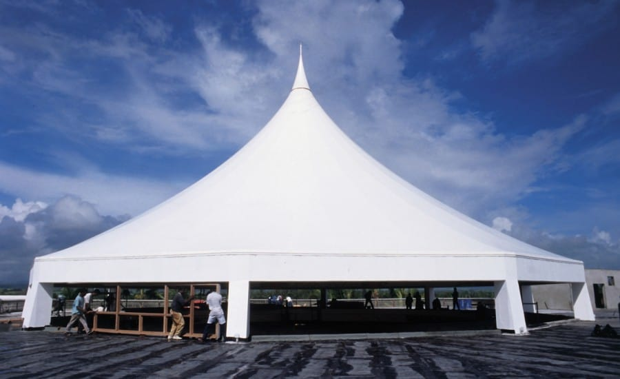 Tensile canopy staging space