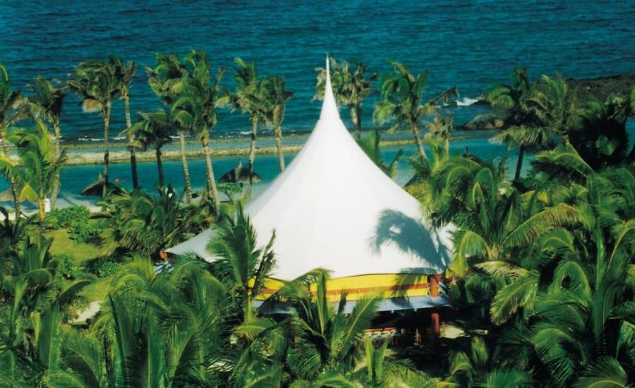 Bright white fabric entertainment canopy
