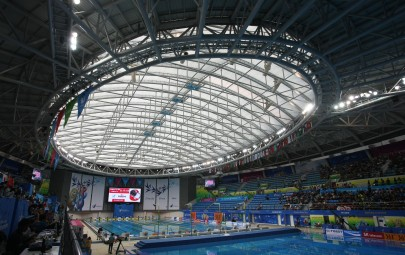 ETFE cushion roof system over aquatics centre