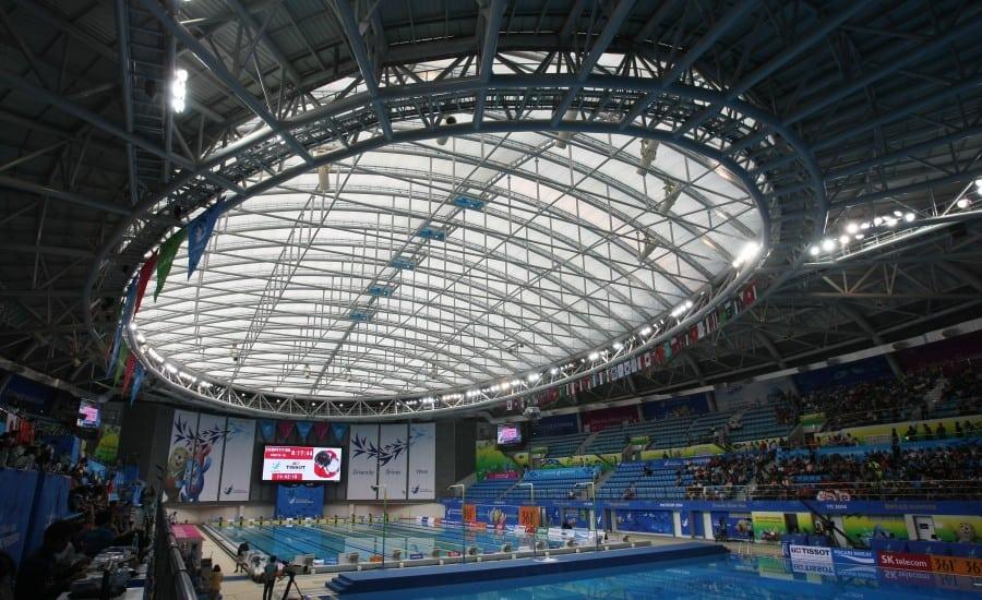ETFE cushion roof system over aquatics centre