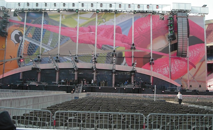 rolling stones printed fabric stage design
