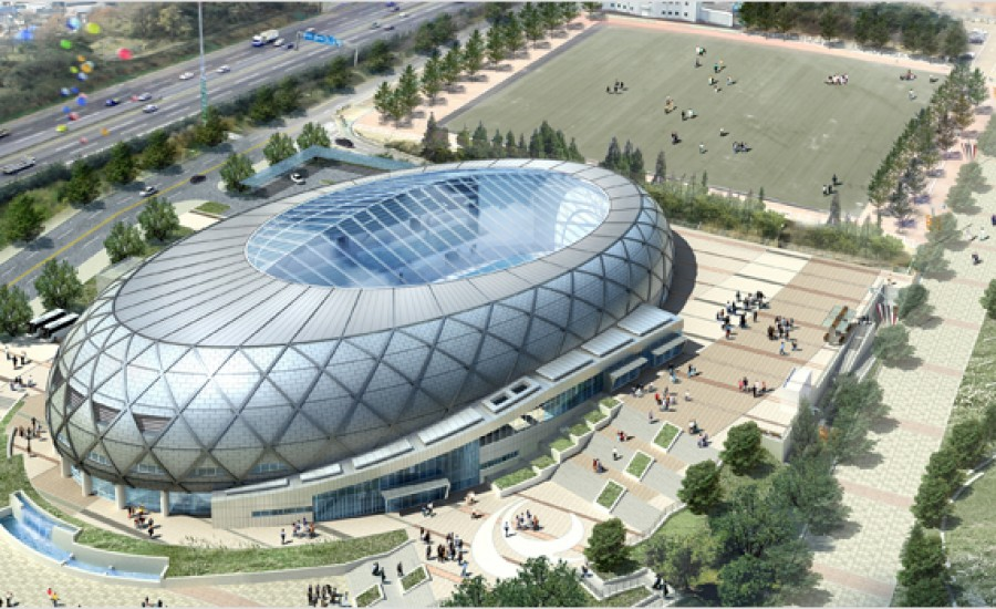 Large ETFE fabric roof over sports venue