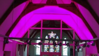 Interior fabric canopy with interactive lighting