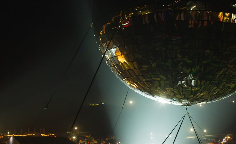 Mirror ball made from tensile fabric