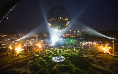 Inflated fabric disco ball